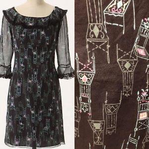 {Anthro} Anna Sui Chair printed dress